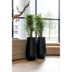 potten fiberstone zwart mat