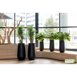 fiberstone ronde potten mat zwart